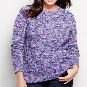 Lands End Drifter Texture Crewneck Sweater Purple
